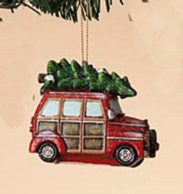 "Retro Holiday Vehicle - Woody Car Ornament, 3 3/4"", ST2420930-car"