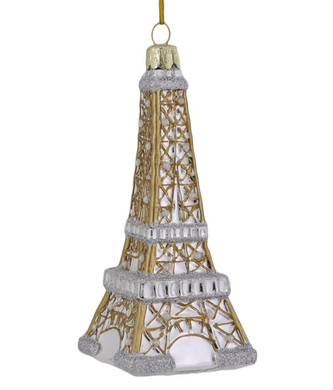 Pearly France Eiffel Tower Glass Ornament