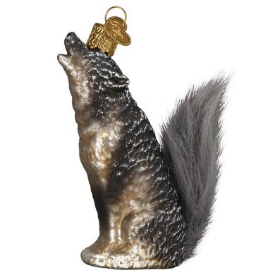 Vintage Howling Wolf Furry Tail Glass Ornament