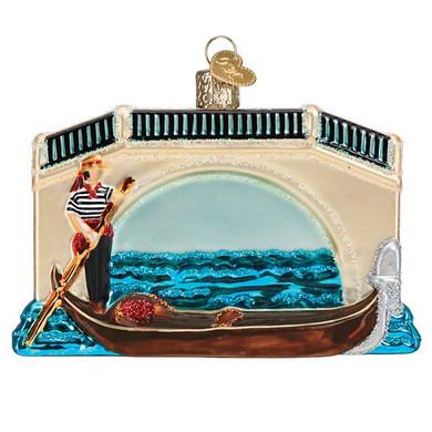 Italy Gondola Glass Ornament