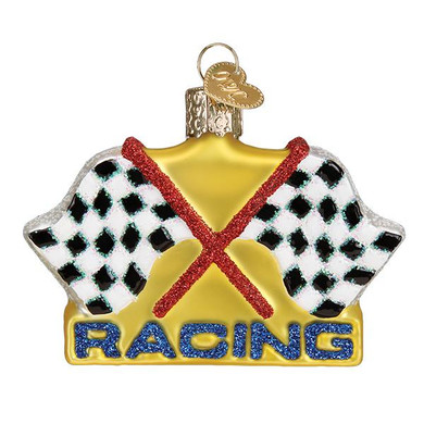 Checked Racing Flags Glass Ornament