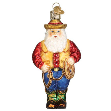 Western Santa Glass Ornament