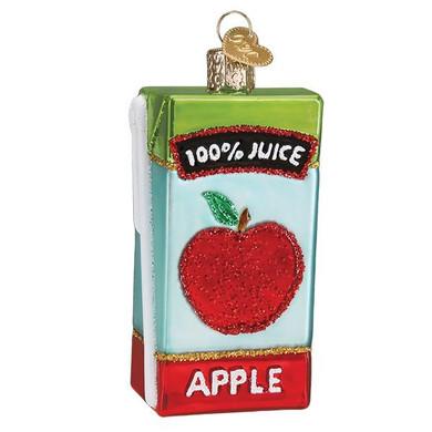Apple Fruit Juice Box Glass Ornament