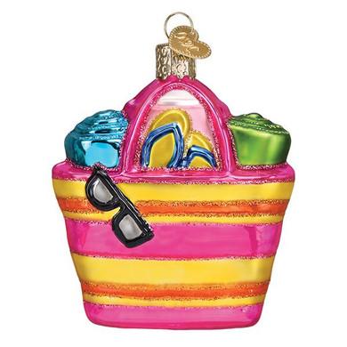 Beach Bag Glass Ornament
