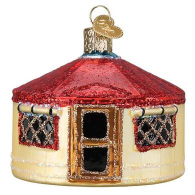 Asia Yurt Tent Glass Ornament