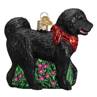 Black Doodle Dog Glass Ornament
