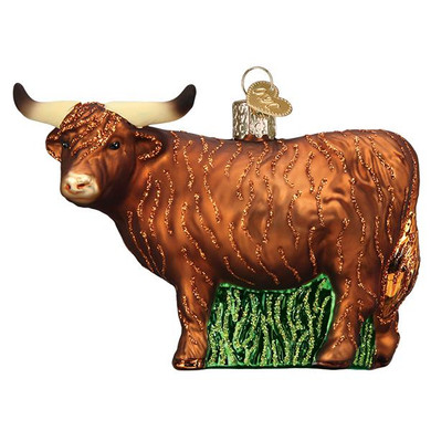 Highland Cow Glass Ornament