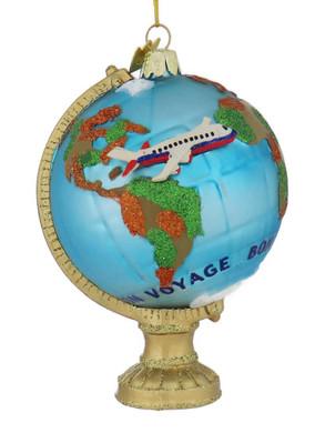 Bon Voyage Travel Globe Glass Ornament front