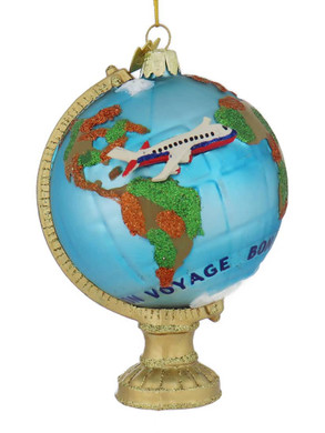 Bon Voyage Travel Globe Glass Ornament front