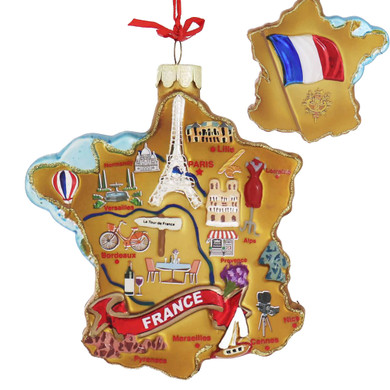 Highlights of France Map Glass Ornament main