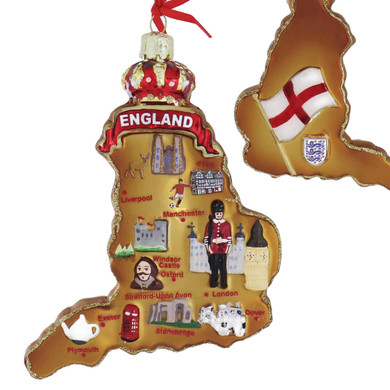Highlights of England Map Glass Ornament main