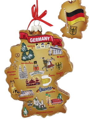 Highlights of Germany Map Glass Ornament main