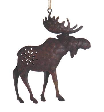 Brown Metal Moose Wildlife Ornament