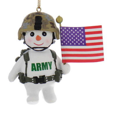 U.S. Army Soldier Snow Person with Flag Ornament