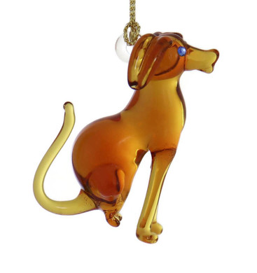 Dog Mouth-Blown Egyptian Glass Ornament