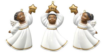 """Flat Back African American Little Girl Ornament - White Robe, 3"""", PG19118"""
