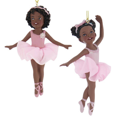 Black - African American Ballerina Girl on Toes Ornament