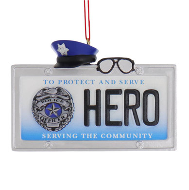 Hero Police Officer License Plate Ornament