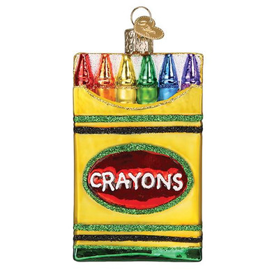 Box of Crayons Glass Ornament Ornament