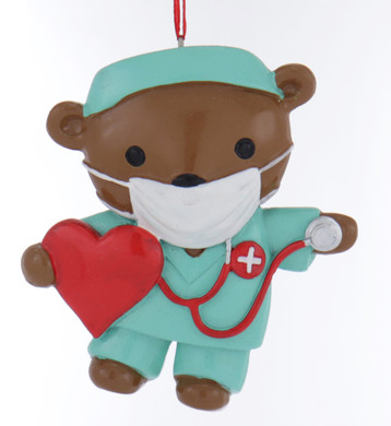Green Scrubs Nurse Bear Ornament