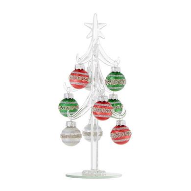 """Glass Mini Glass Tree with 9 Mini Striped Ornaments, 8"""", RA3922906"""