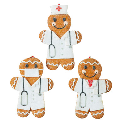 "Set of 3 Nurse - Doctor Gingerbread Cookie Ornaments, 5 1/4"", RA4015557 - - see charity details"