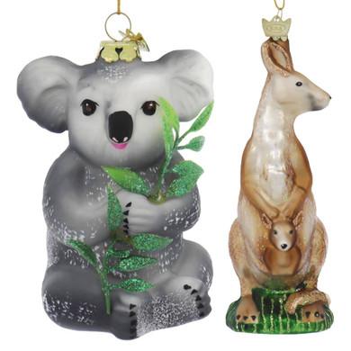 2 pc Australia Wildlife Kangaroo and Koala Glass Ornaments