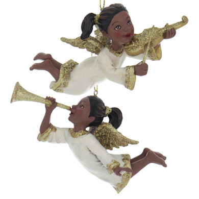 Golden Wings and Instrument Flying Black Angel Ornament