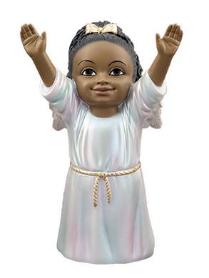 "Black Cherub with Raised Arms Praising God Figurine, 5 1/4"", PG15233"