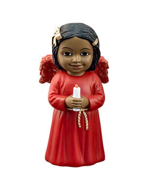 "Black Cherub in Red Gown With Candle Figurine, 5 1/4"", PG15245"