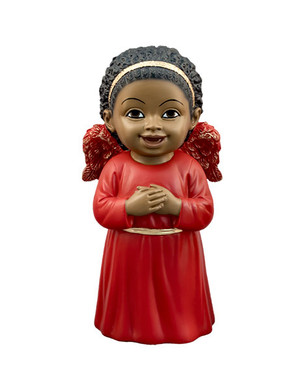 "Black Cherub in Red gown Singing Figurine, 5 1/4"", PG15246"