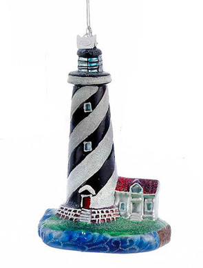 Black Swirl Lines Sparkly Lighthouse Glass Ornament