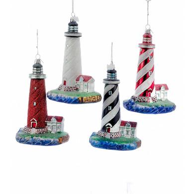 4 pc Sparkly Lighthouse Glass Ornaments SET