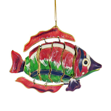 Cloisonne Articulated Tropical Fish Ornament - Pink, Green