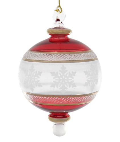 Red with Snowflakes Egyptian Glass Ornament