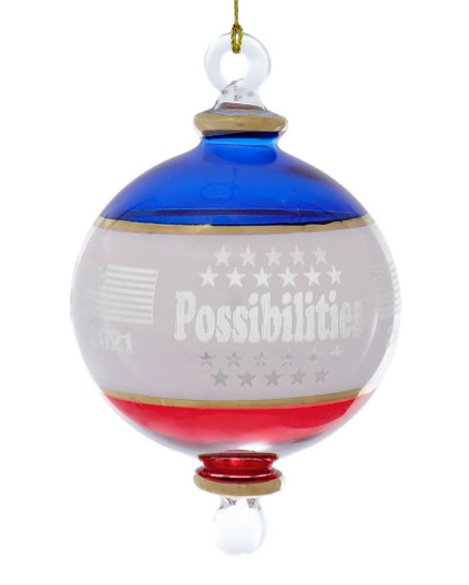 Dated 2021 Possibilities Patriotic Egyptian Glass Ornament
