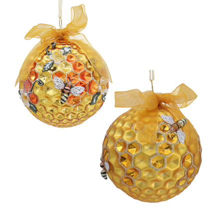 2 pc Round Honeycomb with Bees Glass Ornaments SET