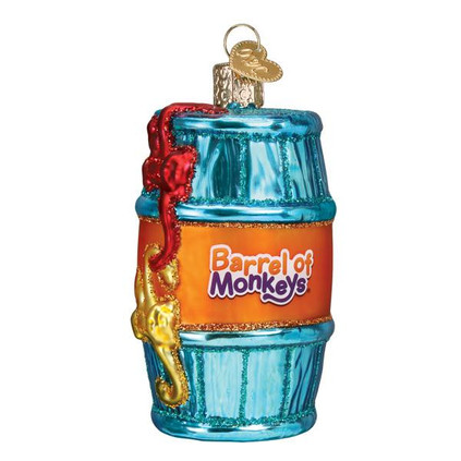 Hasbro Game Barrel Of Monkeys Ornament Glass Ornament