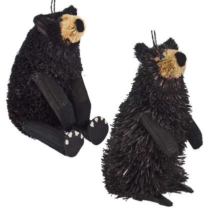 Set of 2 Buri Black Bear Sitting Ornament