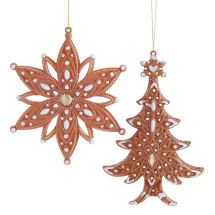 "Set of 2 Gem and Glitter Plastic Cookie  Ornaments, 4 1/4 - 6"", KAT3143"
