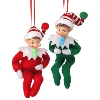 Set of 2 Retro Bendable Chubby Elf Ornament