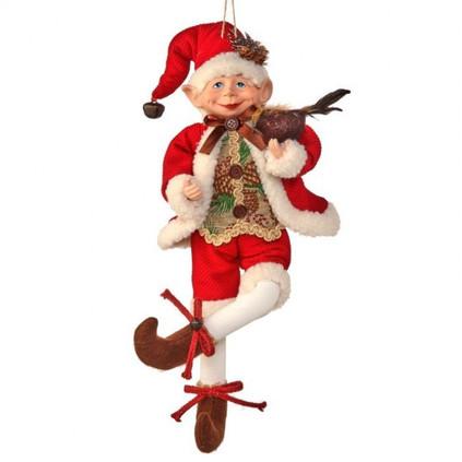 Autumn Vest Bendable Elf Doll with Bird Ornament