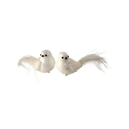 Set of 2 Large Glitter and Sequins Snow Bird Clip On Ornament