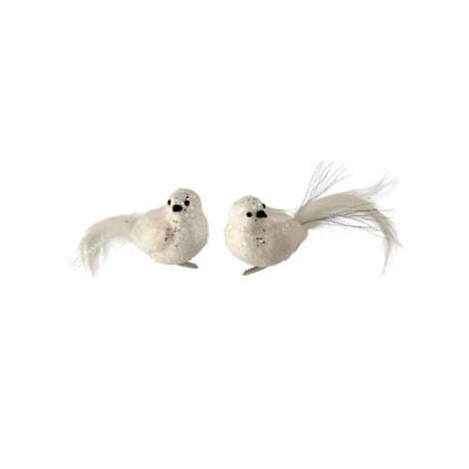 Medium Glitter and Sequins Snow Bird Clip On Ornament