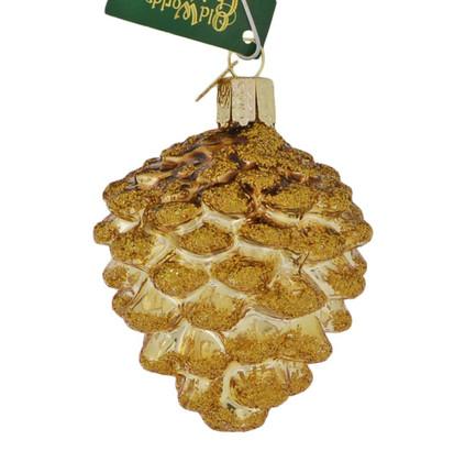 Small Gold Pine Cone Glass Ornament
