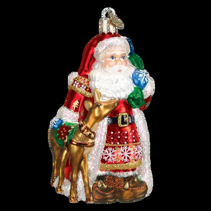 Nordic Santa Glass Ornament