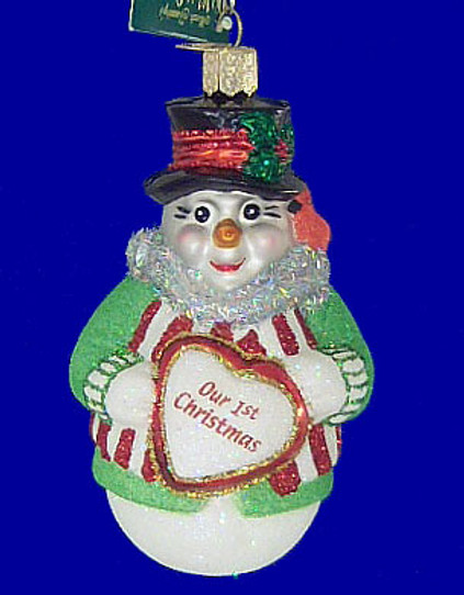 Snowman Our First Christmas Old World Christmas Glass Ornament 24120