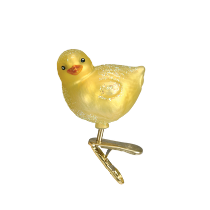Baby Chick Glass Ornament Clip-On