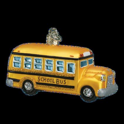School Bus Glass Ornament