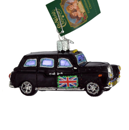British Taxi Glass Ornament 46079 Old World Christmas